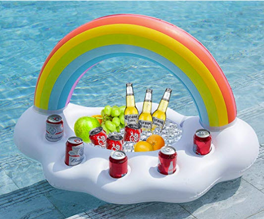 Wanderlust Collective Complete Inflatable Pool Poker Set with Floating Table and