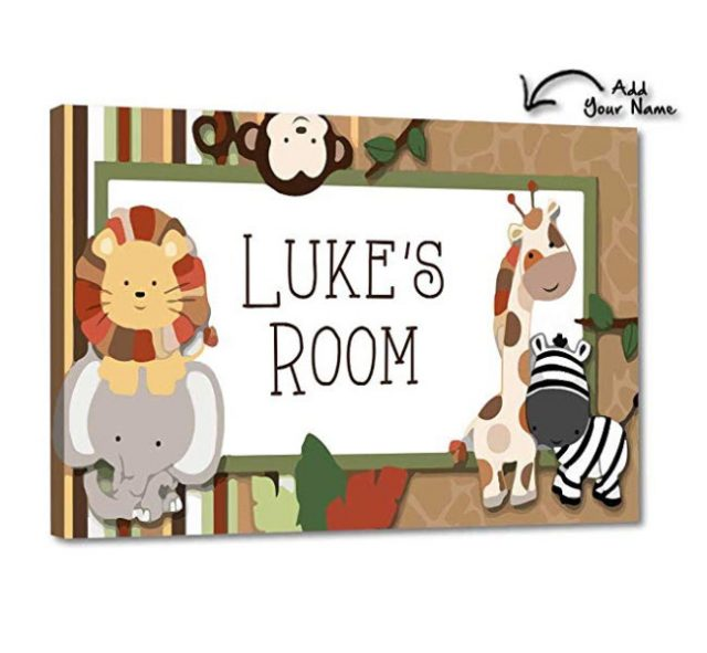 Jungle Friends Personalized Wooden Name Puzzle With A Zebra Blues /& White Personalized Gift for Boy