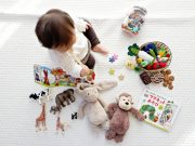 1 year old with toys
